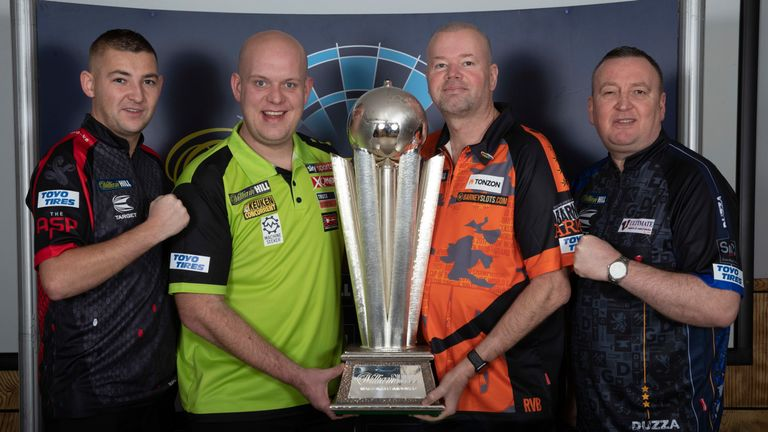 WILLIAM HILL PDC WORLD CHAMPIONSHIP  2019.MEDIA DAY.RILEYS,HAYMARKET,.LONDON.PIC;LAWRENCE LUSTIG.UK OPEN CHAMPION NATHAN ASPINALL,WORLD CHAMPION MICHAEL VAN GERWEN,  5 TIME WORLD CHAMPION RAYMOND VAN BARNEVELD AND REIGNING LAKESIDE  CHAMPION GLEN DURRANT LAUNCH THIS YEARS WILLIAM HILL WORLD CHAMPIONSHIP AT LONDONS ALEXANDRA PALACE FROM DEC 13TH TO JAN 1ST 2020 LIVE ON SKY SPORTS DARTS