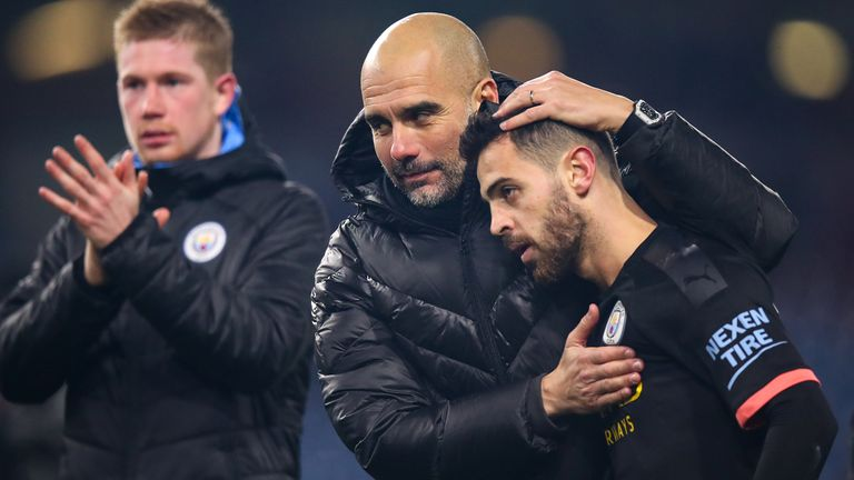 Manchester City's players sing 'Wonderwall' after their dressing room lights went out at Turf Moor but Pep Guardiola saw the funny side of it