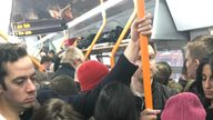 Commuters were crammed in on the line from Guildford to Waterloo