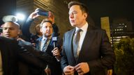 Elon Musk, chief executive officer of Tesla Inc. leaves  the US District Court, Central District of California through a back door in Los Angeles, U.S. on December 3, 2019