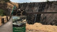 In places, the usually mighty Victoria Falls is reduced to a a trickle