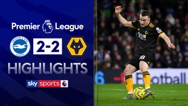 Brighton, Wolves share spoils after Jota brace