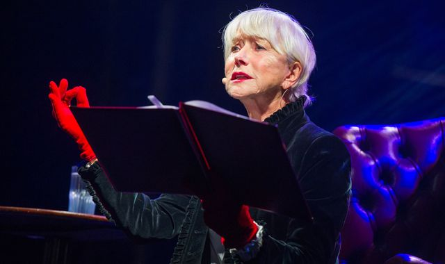 Dame Helen Mirren reads bedtime stories at Trafalgar Square charity sleep out