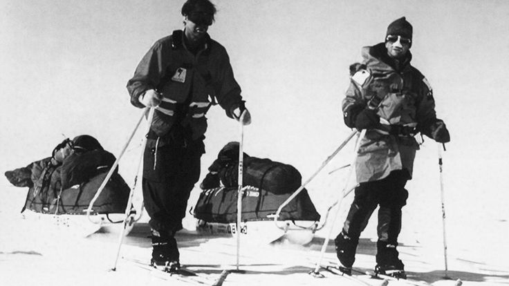 Ranulph Fiennes and Dr Mike Stroud setting off on their trek to the South Pole in 1993