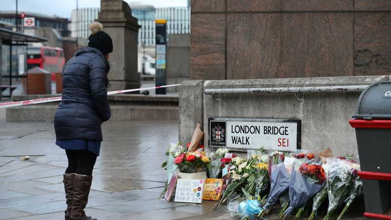 Floral tributes for victims of the terrorist attack, including Jack Merritt, left on London Bridge in central London, after a terrorist wearing a fake suicide vest who went on a knife rampage killing two people, was shot dead by police on Friday.