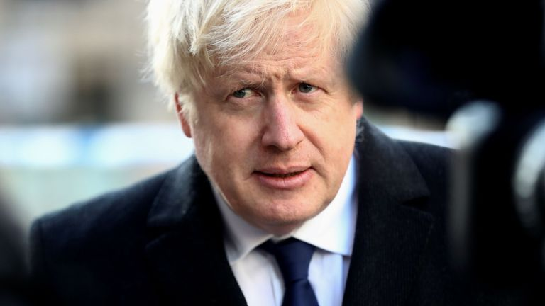 Britain's Prime Minister Boris Johnson speaks to the media at the scene of a stabbing on London Bridge in the City of London, on November 30, 2019. - A man suspected of stabbing two people to death in a terror attack on London Bridge was an ex-prisoner convicted of terrorism offences and released last year, police said Saturday. (Photo by SIMON DAWSON / POOL / AFP) (Photo by SIMON DAWSON/POOL/AFP via Getty Images)