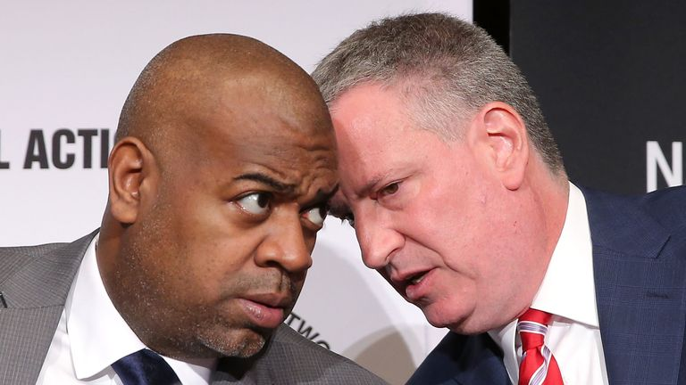NEW YORK, NY - APRIL 08:  Mayor of Newark, New Jersey Ras Baraka and New York City Mayor Bill de Blasio attend day 1 of the National Action Network 2015 Convention at Sheraton New York Times Square on April 8, 2015 in New York City.  (Photo by J. Countess/Getty Images)