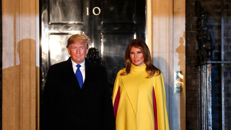 LONDON, UNITED KINGDOM - DECEMBER 3: U.S. President Donald Trump and his wife First Lady of the United States Melania Trump arrive at 10 Downing Street ahead of a NATO reception hosted by British Prime Minister Boris Johnson on December 3, 2019 in London, England. France and the UK signed the Treaty of Dunkirk in 1947 in the aftermath of WW2 cementing a mutual alliance in the event of an attack by Germany or the Soviet Union. The Benelux countries joined the Treaty and in April 1949 expanded further to include North America and Canada followed by Portugal, Italy, Norway, Denmark and Iceland. This new military alliance became the North Atlantic Treaty Organisation (NATO). The organisation grew with Greece and Turkey becoming members and a re-armed West Germany was permitted in 1955. This encouraged the creation of the Soviet-led Warsaw Pact delineating the two sides of the Cold War. This year marks the 70th anniversary of NATO. (Photo by Alastair Grant-WPAPool/Getty Images)