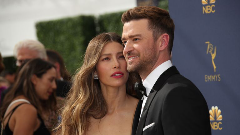 LOS ANGELES, CA - SEPTEMBER 17: Jessica Biel and Justin Timberlake attend the 70th Emmy Awards at Microsoft Theater on September 17, 2018 in Los Angeles, California.  (Photo by Dan MacMedan/Getty Images)