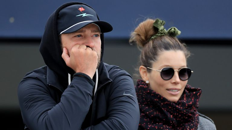 ST ANDREWS, SCOTLAND - SEPTEMBER 29: Justin Timberlake the American musician watches the golf with his wife Jessica Biel during the final round of the Alfred Dunhill Links Championship on the Old Course at St Andrews on September 29, 2019 in St Andrews, United Kingdom. (Photo by David Cannon/Getty Images)