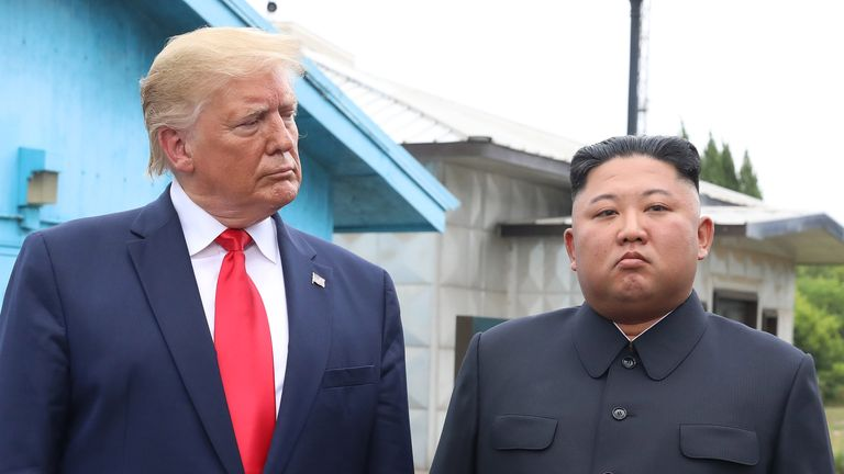 PANMUNJOM, SOUTH KOREA - JUNE 30 (SOUTH KOREA OUT): A handout photo provided by Dong-A Ilbo of North Korean leader Kim Jong Un and U.S. President Donald Trump inside the demilitarized zone (DMZ) separating the South and North Korea on June 30, 2019 in Panmunjom, South Korea. U.S. President Donald Trump and North Korean leader Kim Jong-un briefly met at the Korean demilitarized zone (DMZ) on Sunday, with an intention to revitalize stalled nuclear talks and demonstrate the friendship between both countries. The encounter was the third time Trump and Kim have gotten together in person as both leaders have said they are committed to the
