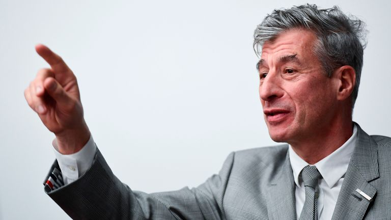 "Italian artist Maurizio Cattelan attends the launch of ""Arte Generali"" by Italian insurance company Generali, a new offer dedicated to art collectors globally, on November 12, 2019 at Generali Group headquarters in Milan. - Arte Generali is a new offer dedicated to art collectors globally, including insurance solutions, concierge service and innovative tools. (Photo by MIGUEL MEDINA / AFP) (Photo by MIGUEL MEDINA/AFP via Getty Images)"