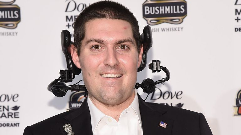 NEW YORK, NY - DECEMBER 09:  Former Boston College baseball player Pete Frates attends the 2014 Sports Illustrated Sportsman of the Year award presentation at Pier 60 on December 9, 2014 in New York City.  (Photo by Gary Gershoff/WireImage)