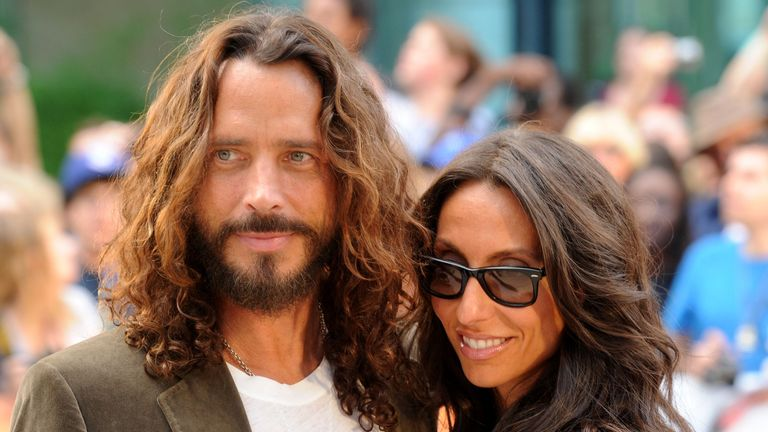 "TORONTO, ON - SEPTEMBER 11:  Musician/actor Chris Cornell and wife Vicky Karayiannis arrive at the premiere of ""Machine Gun Preacher"" at Roy Thomson Hall during the 2011 Toronto International Film Festival on September 11, 2011 in Toronto, Canada.  (Photo by Jason Merritt/Getty Images)"