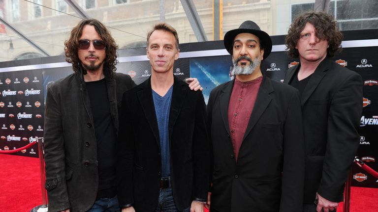 "HOLLYWOOD, CA - APRIL 11:  (L-R) Musicians Chris Cornell, Matt Cameron, Kim Thayil and Ben Shepherd of Soundgarden attend the premiere of Marvel Studios' ""Marvel's The Avengers"" held at the El Capitan Theatre on April 11, 2012 in Hollywood, California.  (Photo by Alberto E. Rodriguez/WireImage)"
