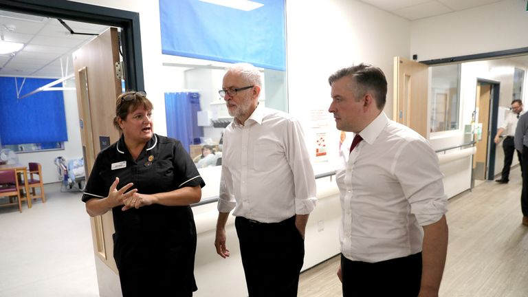 Julia Fairhall, Area Head of Nursing and Governance at Sussex Community NHS Foundation Trust, walks with Labour leader Jeremy Corbyn (centre) and shadow heath secretary Jonathan Ashworth, during their visit to Crawley Hospital, Crawley, West Sussex.