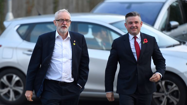 CRAWLEY, ENGLAND - OCTOBER 30: Labour leader Jeremy Corbyn and shadow heath secretary Jonathan Ashworth visit Crawley Hospital on October 30, 2019 in Crawley, England. Last night MPs voted 438 to 20 votes in favour of holding a General Election on Thursday 12th December 2019. (Photo by Peter Summers/Getty Images)