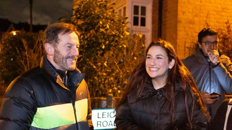 LONDON ENGLAND - DECEMBER 8: Liberal Democrat candidate Luciana Berger campaigns with actor and producer Jason Isaacs in her constituency Finchley and Golders Green on December 8, 2019 in London, England. This is the third General Election in less than five years. (photo by Nicola Tree/ Getty Images)