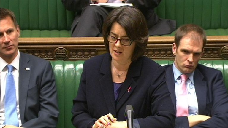 Health Minister Jane Ellison speaks in the House of Commons, London, where she announced that draft regulations to introduce plain packaging for cigarettes are to be published following the Sir Cyril Chantler review.