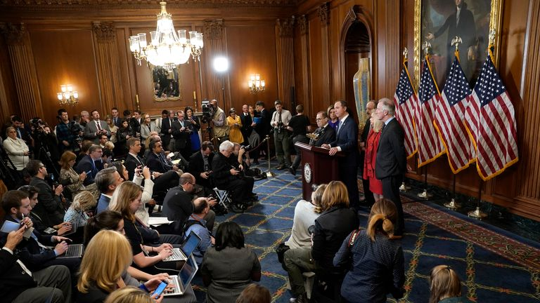 "WASHINGTON, DC - DECEMBER 10:  Speaker of the House Nancy Pelosi (D-CA) joins House investigative committee chairs (L-R) Rep. Jerry Nadler (D-NY), Rep. Adam Schiff (D-CA), Rep. Eliot Engel (D-NY), Rep. Carolyn Maloney (D-NY) and Rep. Richard Neal (D-MA) as they announce the next steps in the House impeachment inquiry at the U.S. Capitol December 10, 2019 in Washington, DC. The impeachment charges include abuse of power and obstruction claims and ""clear and present danger"" to national security and the 2020 election.  (Photo by Win McNamee/Getty Images)"