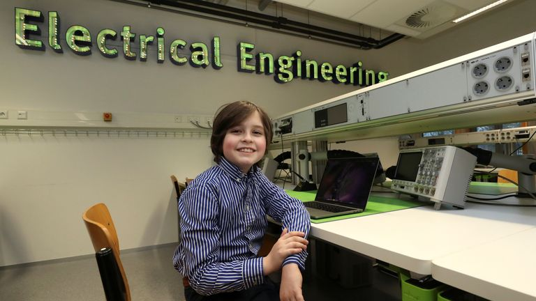 Nine-year-old Belgian student Laurent Simons, who studies electrical engineering and who will soon become the youngest university graduate in the world, poses at the University of Technology in Eindhoven, Netherlands November 20, 2019. Picture taken November 20, 2019. REUTERS/Yves Herman