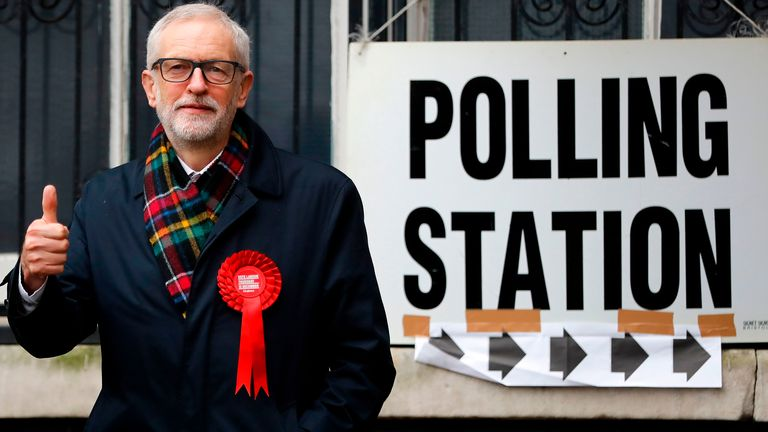 Britain's main opposition Labour Party leader Jeremy Corbyn poses at a Polling Station, where he arrived to cast his ballot paper and vote, in north London on December 12, 2019, as Britain holds a general election. (Photo by Tolga AKMEN / AFP) (Photo by TOLGA AKMEN/AFP via Getty Images)