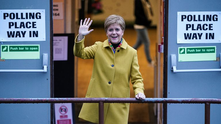 GLASGOW, UNITED KINGDOM - DECEMBER 12: First Minister of Scotland and leader of the SNP Nicola Sturgeon votes at Broomhouse Community Hall in Ballieston on December 2019, in Glasgow, Scotland. The current Conservative Prime Minister Boris Johnson called the first UK winter election for nearly a century in an attempt to gain a working majority to break the parliamentary deadlock over Brexit. The election results from across the country are being counted overnight and an overall result is expected in the early hours of Friday morning. (Photo by Jeff J Mitchell/Getty Images)