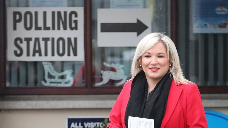Sinn Fein Deputy leader Michelle O'Neill casting her vote in the 2019 General Election at Patrick's Primary School in Clonoe, Co. Tyrone.