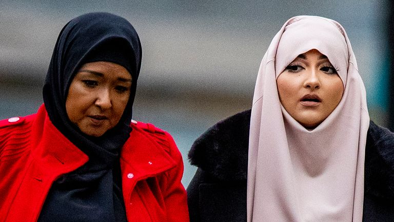 Amaani Noor, 21, (right) arrives at Liverpool Crown Court where she is appearing on charges of funding an Islamic State group. Ms Noor is charged with donating 45 dollars, around ??35, to organisation Merciful Hands knowing it would be used for the purposes of terrorism on May 23 last year.