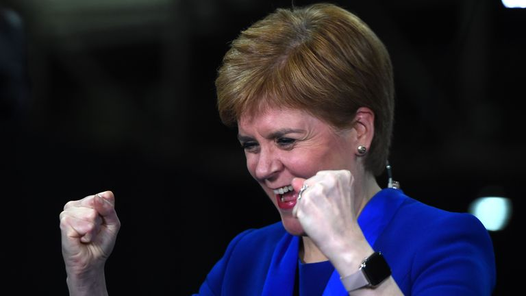 Scottish National Party (SNP) leader and Scotland's First Minister Nicola Sturgeon celebrates as she hears that New Scottish National Party (SNP) MP for Dunbartonshire East, Amy Callaghan has unseated Britain's Liberal Democrat leader Jo Swinson, at the count centre in Glasgow on December 13, 2019 after votes are counted in the UK general election. (Photo by ANDY BUCHANAN / AFP) (Photo by ANDY BUCHANAN/AFP via Getty Images)