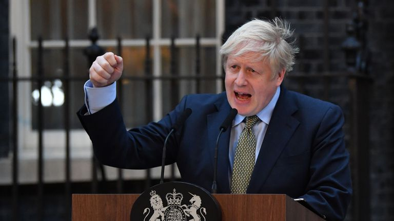 "Britain's Prime Minister Boris Johnson delivers a speech outside 10 Downing Street in central London on December 13, 2019, following his Conservative party's general election victory. - UK Prime Minister Boris Johnson proclaimed a political ""earthquake"" Friday after his thumping election victory cleared Britain's way to finally leave the European Union after years of damaging deadlock over Brexit. (Photo by Ben STANSALL / AFP) (Photo by BEN STANSALL/AFP via Getty Images)"
