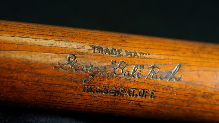 Babe Ruth's 500th home run bat is shown before it goes up for auction by SCP Auctions in Laguna Niguel, California, U.S., November 25, 2019. Picture taken November 25, 2019. REUTERS/Mike Blake