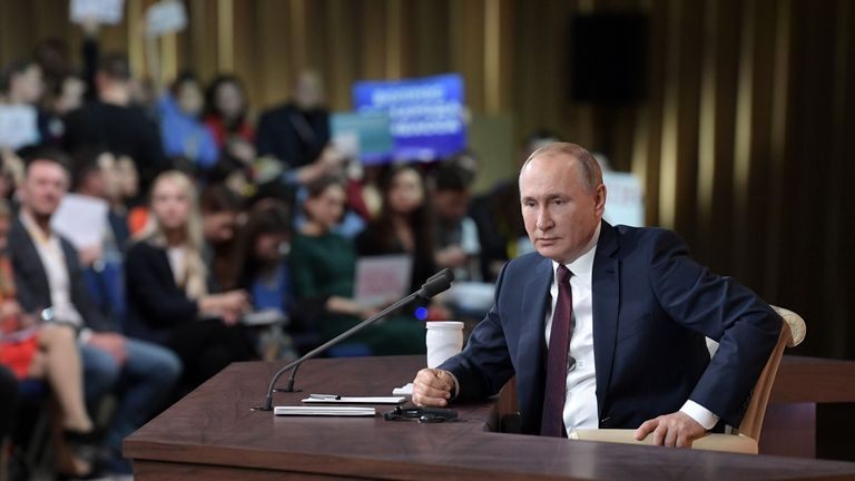 Russian President Vladimir Putin speaks during his annual press conference in Moscow on December 19, 2019. (Photo by Aleksey Nikolskyi / SPUTNIK / AFP) (Photo by ALEKSEY NIKOLSKYI/SPUTNIK/AFP via Getty Images)