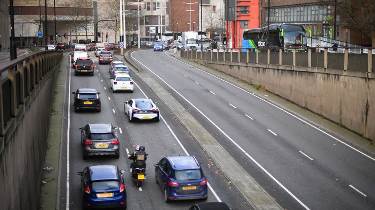 Traffic queues to join the M32 motorway and head out of Bristol as millions of people are embarking on a Christmas getaway amid warnings of disruption to road, rail and air travel.