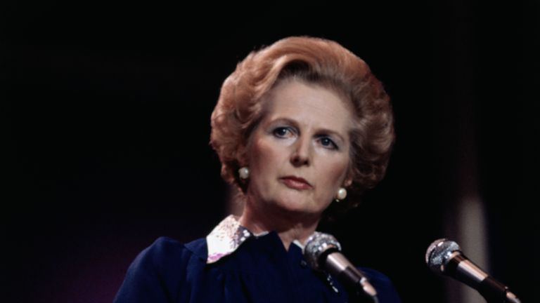 (Original Caption) 1978-London, England- Margaret Thatcher, leader of the British Conservative Party, is on the threshold of becoming Britain's first woman Prime Minister. Mrs. Thatcher wears dark blue dress with white collar, background is dark.