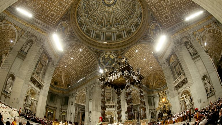 VATICAN CITY, VATICAN - DECEMBER 24: A general view of St. Peter's Basilica  during the Pope Francis' Christmas Eve Mass on December 24, 2019 in Vatican City, Vatican. (Photo by Franco Origlia/Getty Images)
