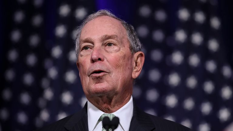 NORFOLK, VA - NOVEMBER 25: Newly announced Democratic presidential candidate, former New York Mayor Michael Bloomberg speaks during a press conference to discuss his presidential run on November 25, 2019 in Norfolk, Virginia. The 77-year old Bloomberg joins an already crowded Democratic field and is presenting himself as a moderate and pragmatic option in contrast to the current Democratic Party's increasingly leftward tilt. In recent years, Bloomberg has used some of his vast personal fortune to push for stronger gun safety laws and action on climate change. (Photo by Drew Angerer/Getty Images)