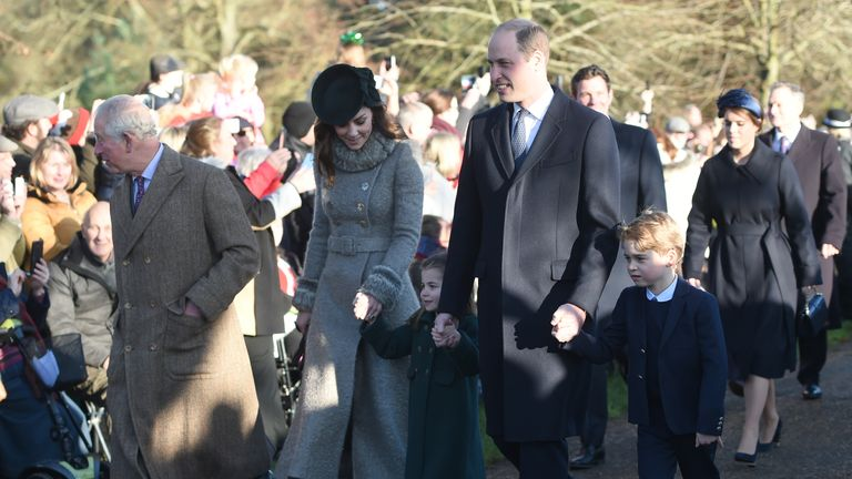 The Prince of Wales with the Duke and Duchess of Cambridge and their children Prince George and Princess Charlotte arriving to attend the Christmas Day morning church service at St Mary Magdalene Church in Sandringham, Norfolk.