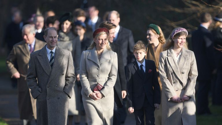 The Earl and Countess of Wessex with their children, Viscount Severn and Lady Louise Windsor, arriving to attend the Christmas Day morning church service at St Mary Magdalene Church in Sandringham, Norfolk.