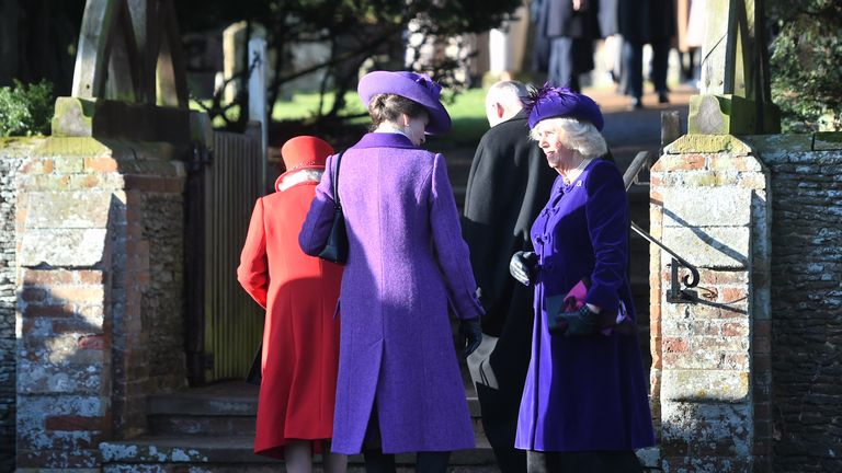Queen Elizabeth II, the Princess Royal and the Duchess of Cornwall arriving to attend the Christmas Day morning church service at St Mary Magdalene Church in Sandringham, Norfolk.