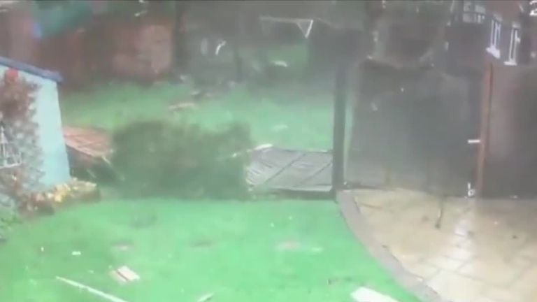 CCTV captures the destruction caused by a Tornado sweeping through Chertsey, Surrey.