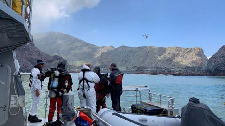Dive squad continue to search the two bodies on White Island. Pic: New Zealand Police
