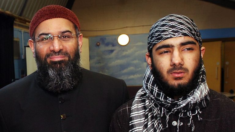 Abu Hafs (left) and Abu Saif [aka Usman Khan] (right), who spoke alongside Anjem Choudary (centre) at a conference on Sharia law organised by Ahl Sunnah Wal Jumah at Cobridge Community Centre in Stoke-on-Trent, Staffordshire in 2009