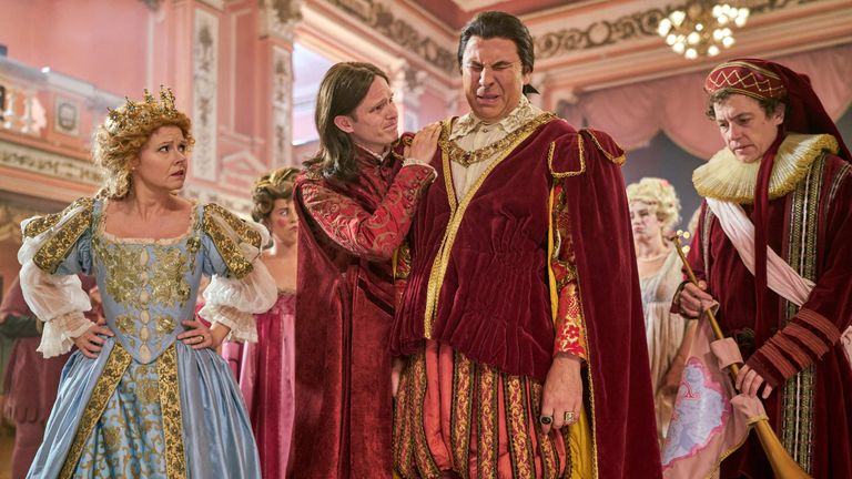 Sian Gibson as Cinderella, Alexander Owen as Snorter, David Walliams as Prince Charming and Matthew Steer as Herald in Cinderella: After Ever After. Pic: Sky UK