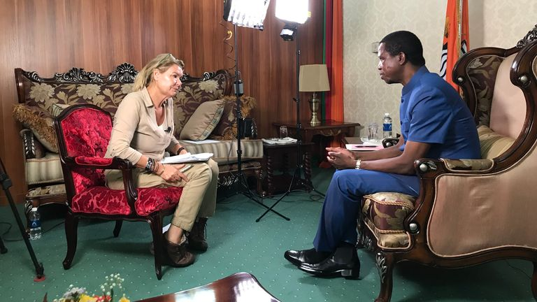 Alex Crawford interviewing Edgar Lungu