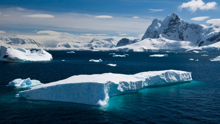 An iceberg floating in Paradise Harbour, Antarctica