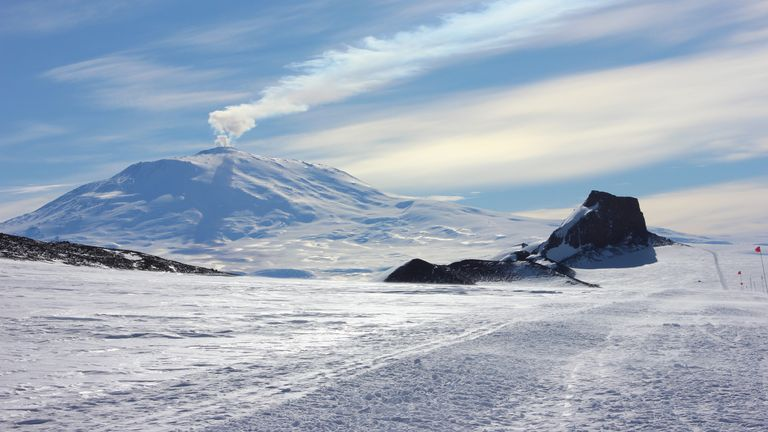 Mt Erebus, the highest mountain in Antarctica