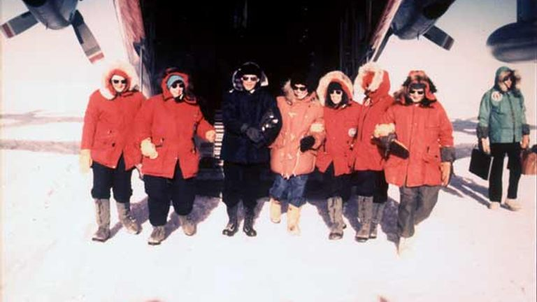 The first women at the South Pole. Pic: US Navy, courtesy of Rear Admiral Kelly Welch/Bill Spindler