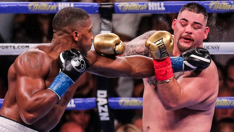 Anthony Joshua and Andy Ruiz Jr square off at a heavyweight championship match in June