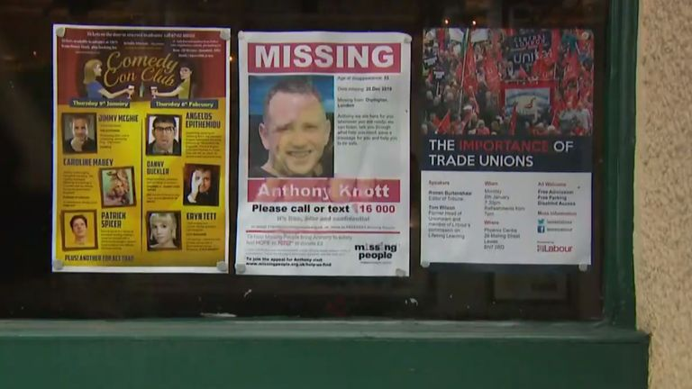 Missing posters for Anthony Knott have been put up around the area
